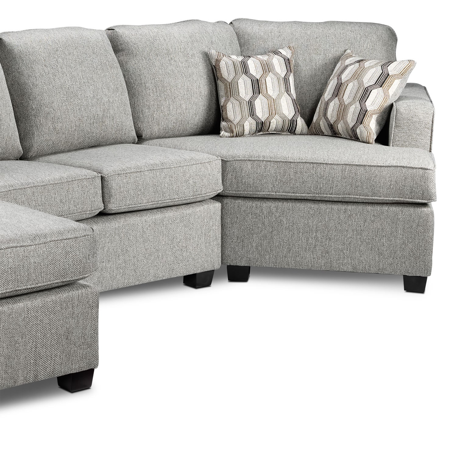 Downtown 2 Piece Left Facing Sectional Grey