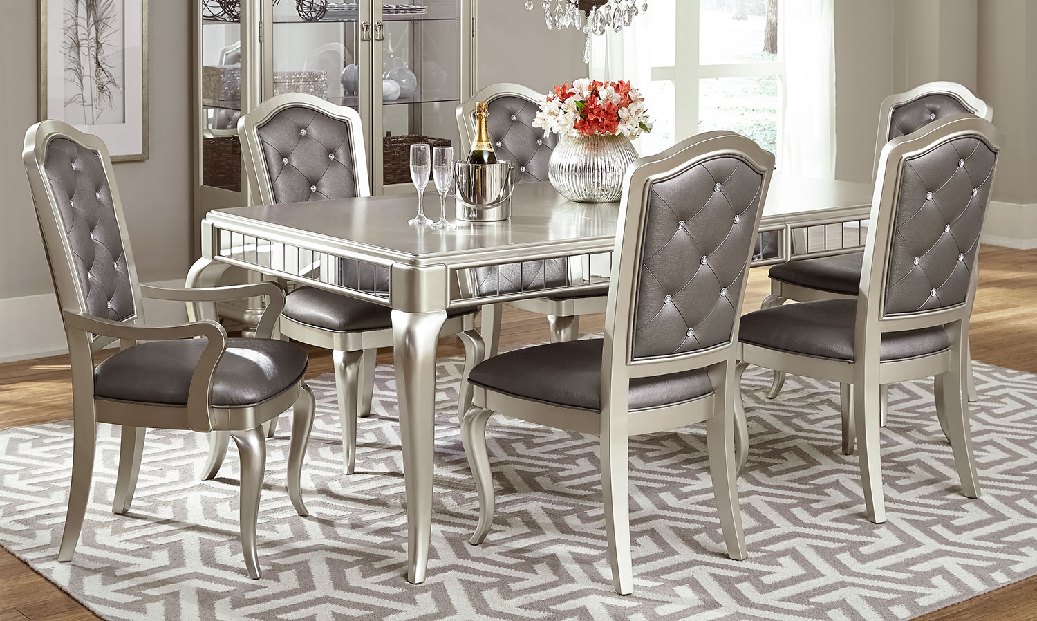Dining Room Furniture - Diva 7-Piece Dining Room Set - Frost