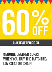 60% OFF GENUINE LEATHER SOFAS WHEN YOU BUY THE MATCHING LOVESEAT OR CHAIR