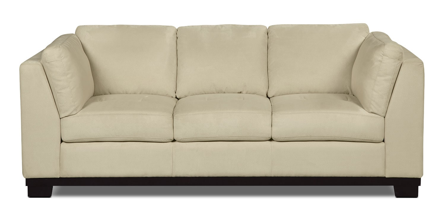 Living Room Furniture - Oakdale Microsuede Sofa – Mushroom