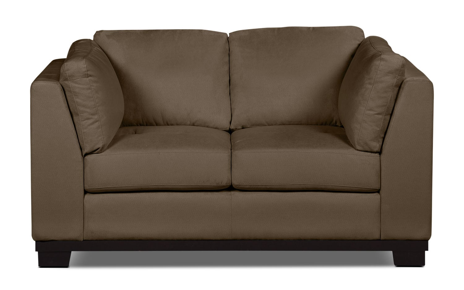 Living Room Furniture - Oakdale Microsuede Loveseat – Cocoa