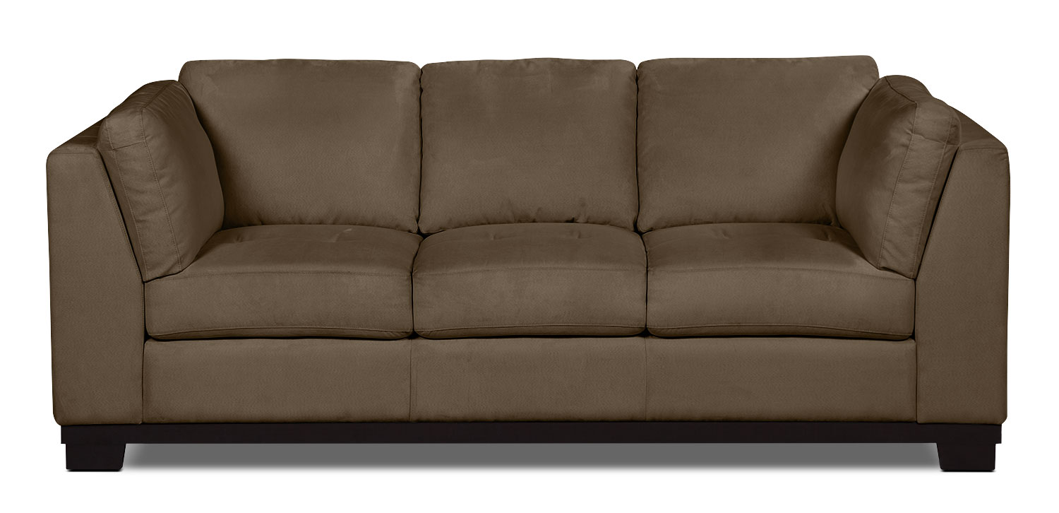 Oakdale microsuede sofa cocoa the brick for Microsuede living room furniture