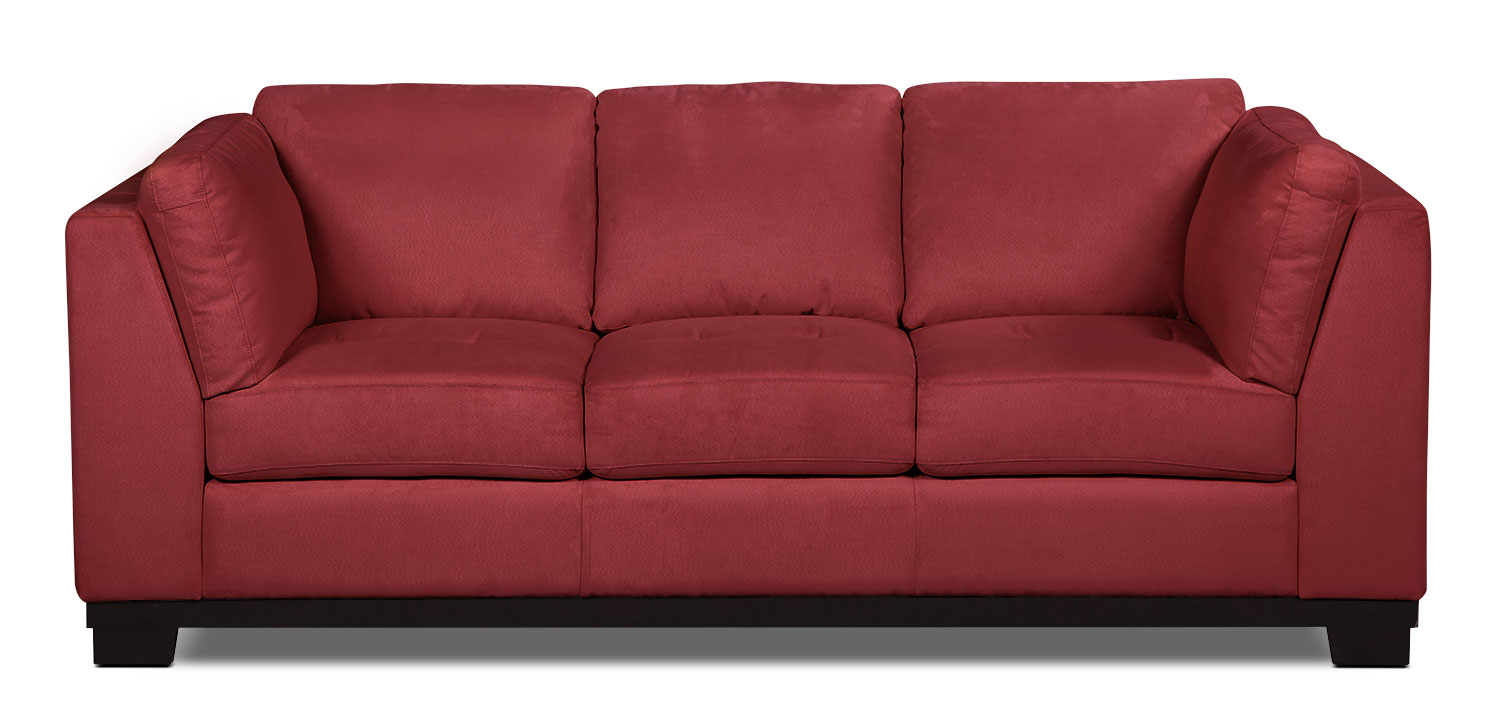 Oakdale microsuede sofa red the brick for Microsuede living room furniture