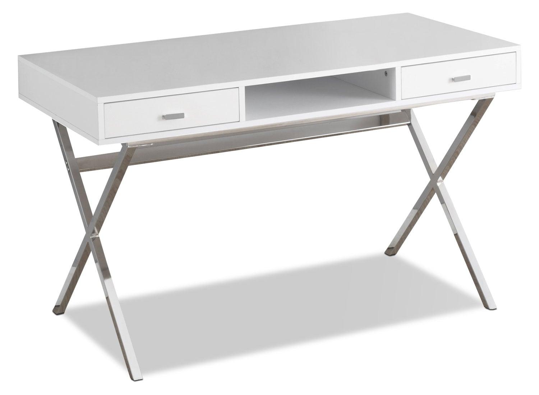 Catonia computer desk glossy white the brick for Cheap local furniture