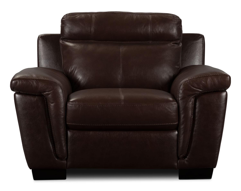 Living Room Furniture - Seth Genuine Leather Chair - Mahogany