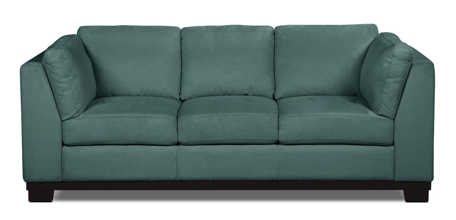 Oakdale microsuede sofa azure the brick for Microsuede living room furniture