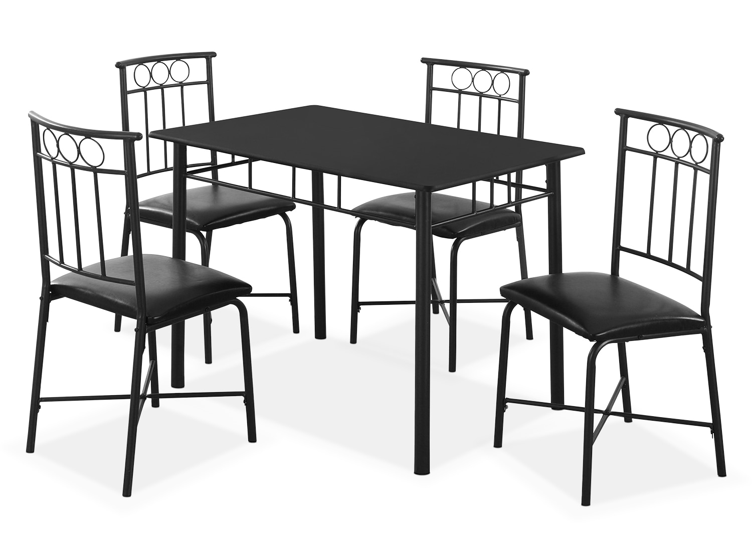 Dining Room Furniture - Monarch 5-Piece Bistro Dining Package – Black