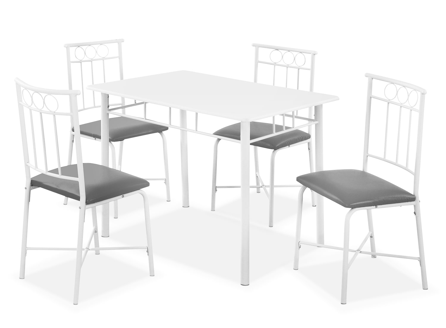 Dining Room Furniture - Monarch 5-Piece Bistro Dining Package – White