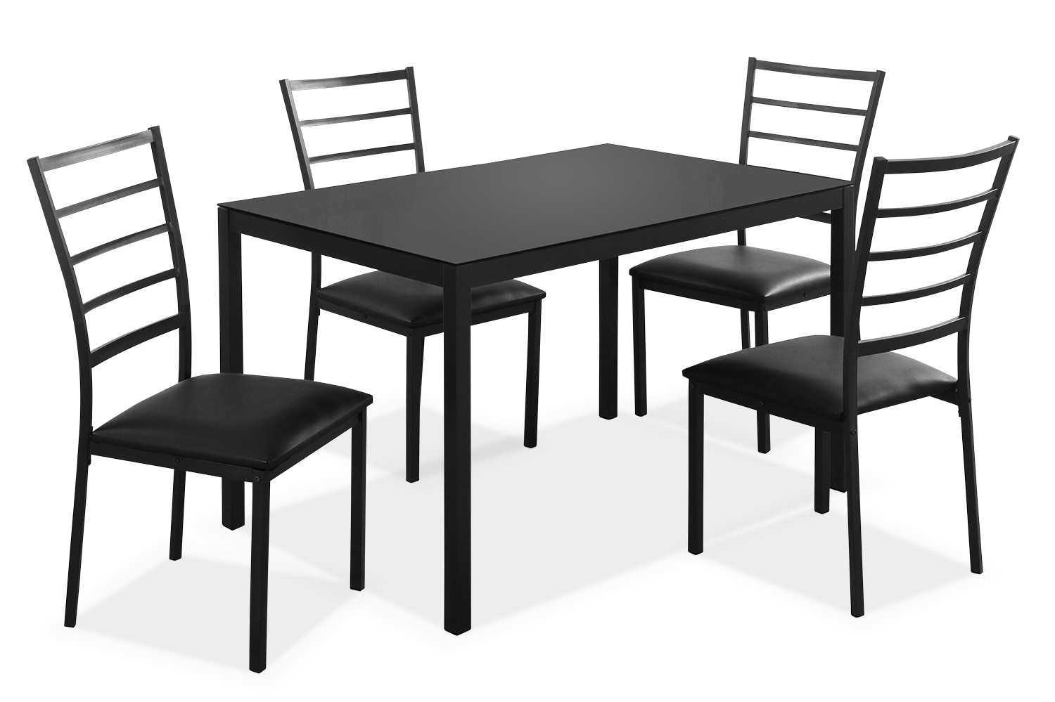 Dining Room Furniture - Monarch 5-Piece Dining Package with Glass Tabletop
