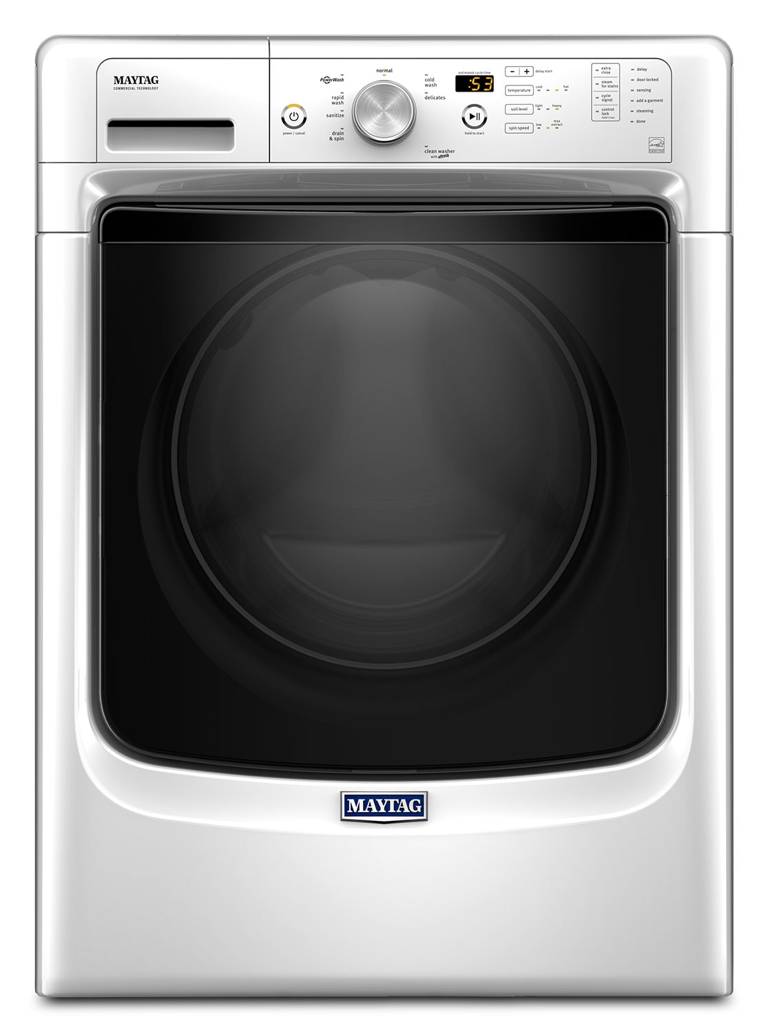 Washers and Dryers - Maytag White Front-Load Washer (5.0 Cu. Ft. IEC) - MHW3500FW