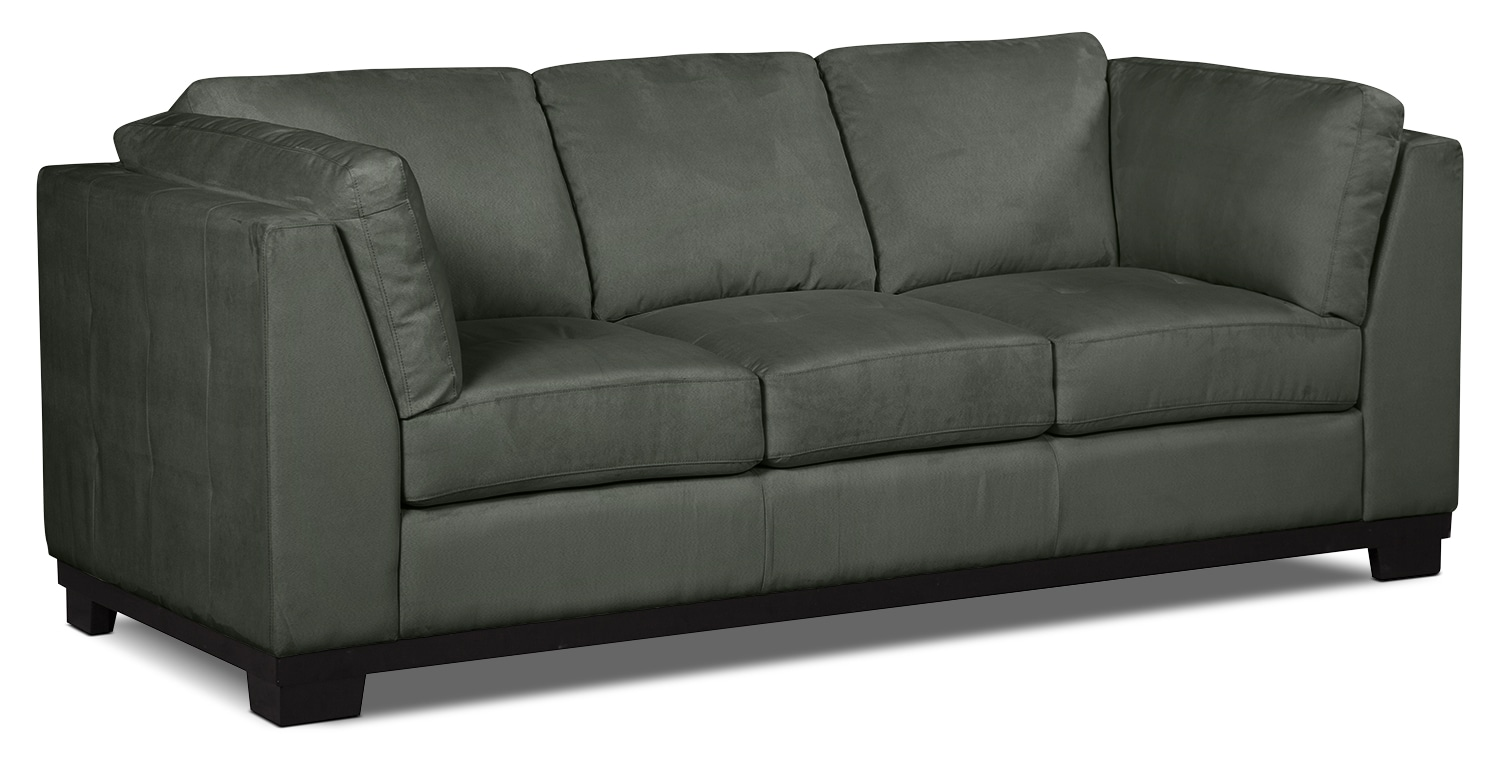 Oakdale microsuede sofa grey united furniture warehouse for Grey microsuede sectional sofa