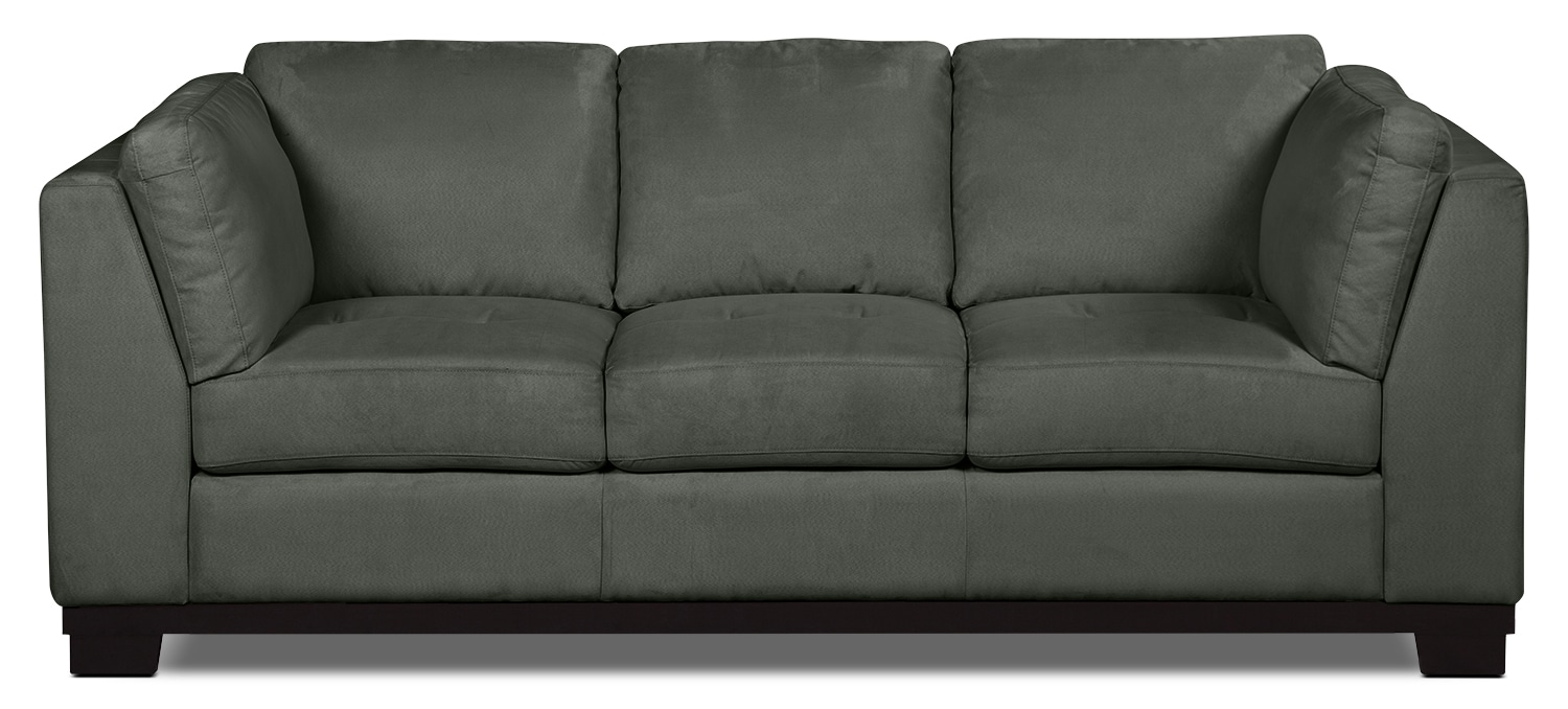 Oakdale microsuede sofa grey the brick for Microsuede living room furniture