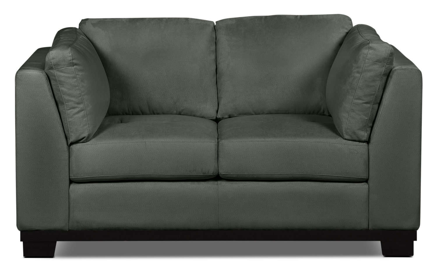 Living Room Furniture - Oakdale Microsuede Loveseat – Grey