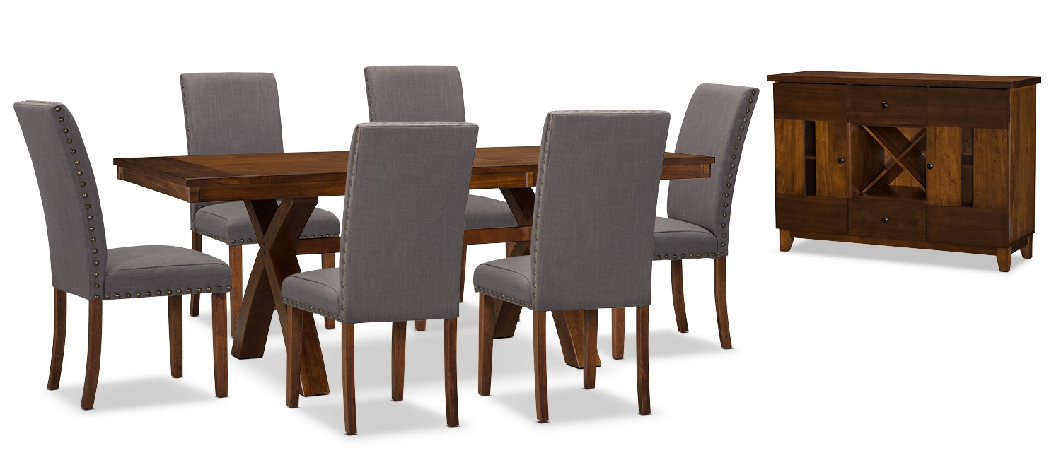 Dining Room Furniture - Mindy 8-Piece Dining Package – Charcoal