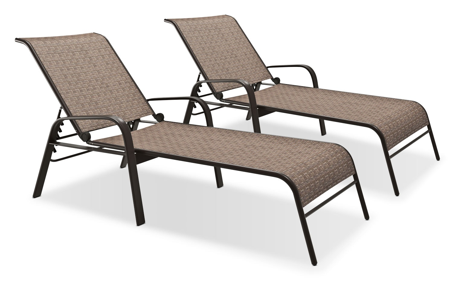 Reclining Loungers, Set of 2 – Brown