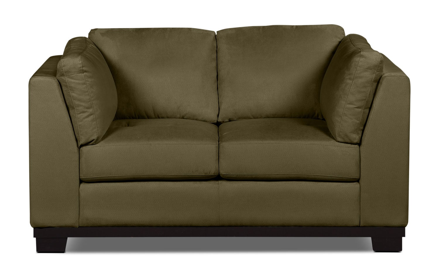 Living Room Furniture - Oakdale Microsuede Loveseat – Peat