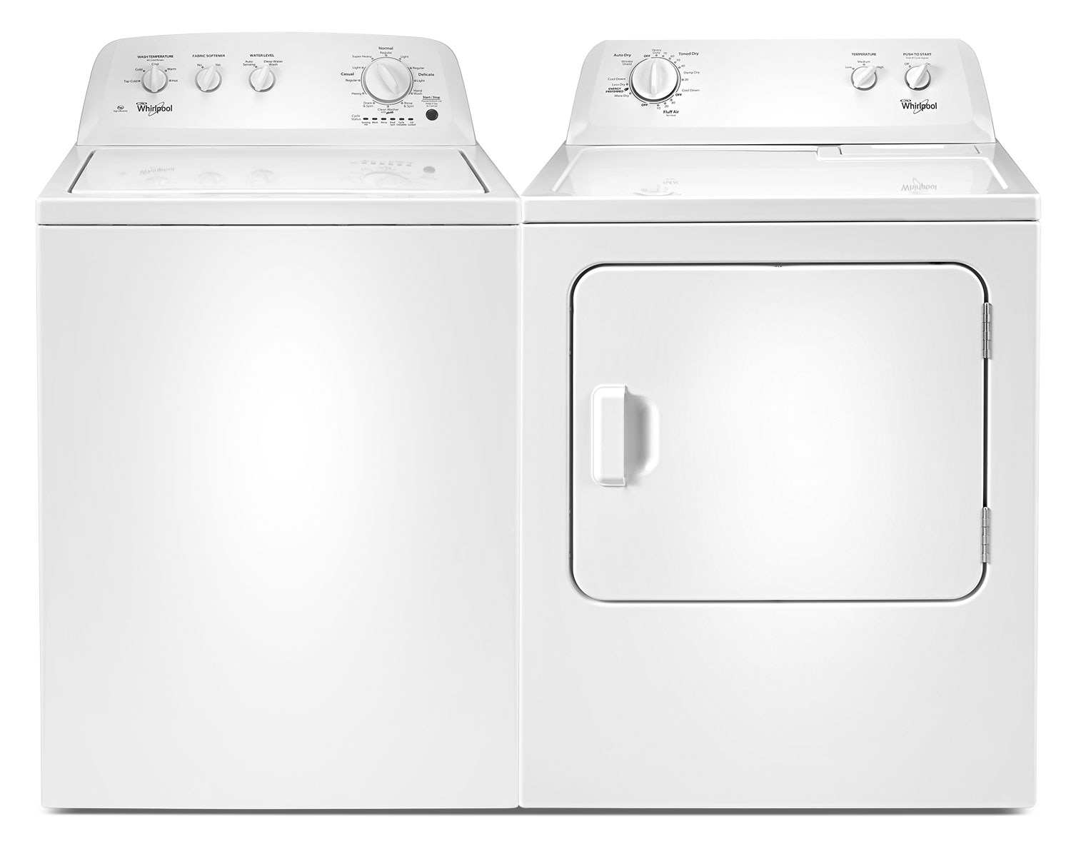[Whirlpool White Top-Load Laundry Pair w/ Deep Water Wash Option]
