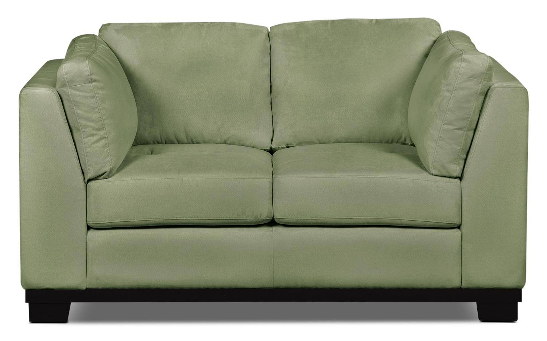 Living Room Furniture - Oakdale Microsuede Loveseat – Pear
