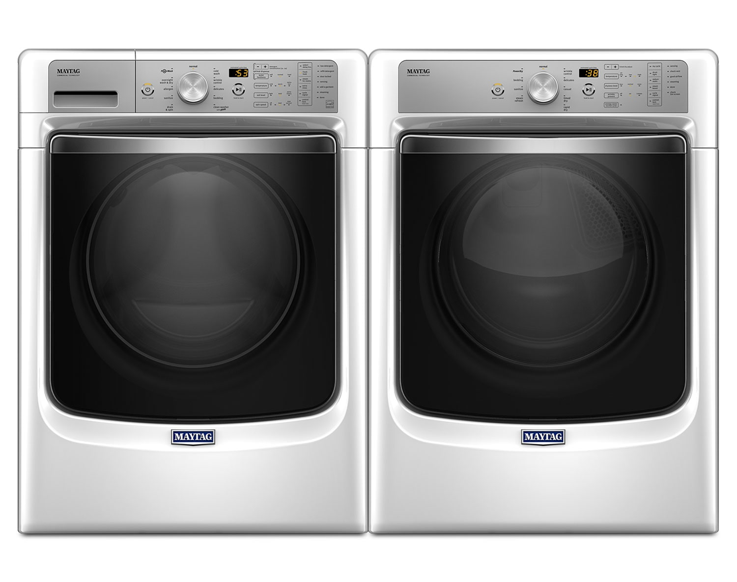 [Maytag White Front-Load Laundry Pair w/ PowerWash® and PowerDry Systems]