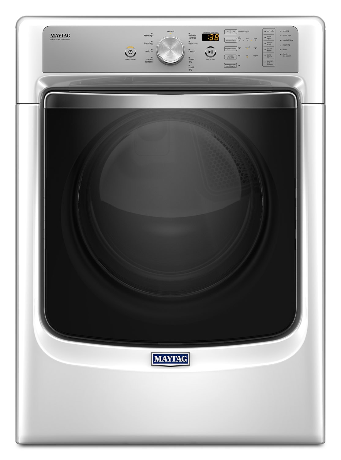 Washers and Dryers - Maytag White Dryer w/ PowerDry System (7.4 Cu. Ft.) - YMED8200FW