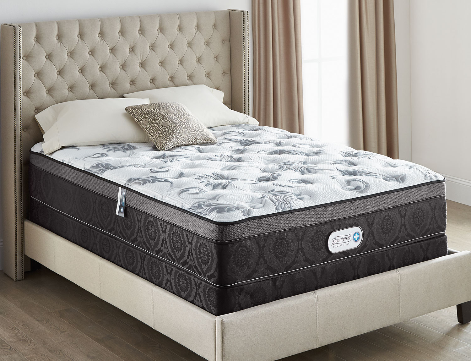 Mattresses and Bedding - Beautyrest® Recharge Plus Allure Ultra Euro-Top Low-Profile Split Queen Mattress Set
