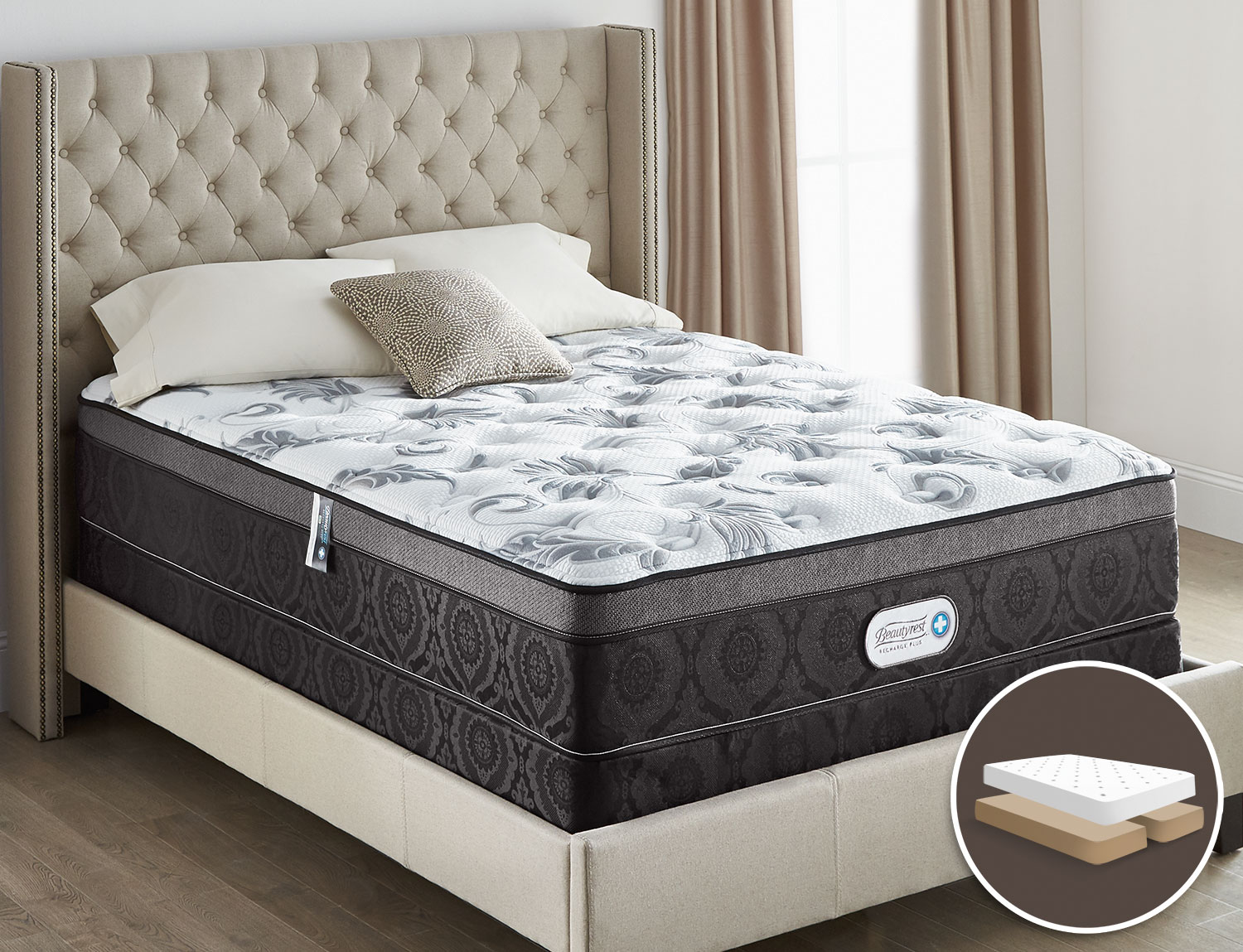 Mattresses and Bedding - Beautyrest® Recharge Plus Allure Ultra Euro-Top Split Queen Mattress Set