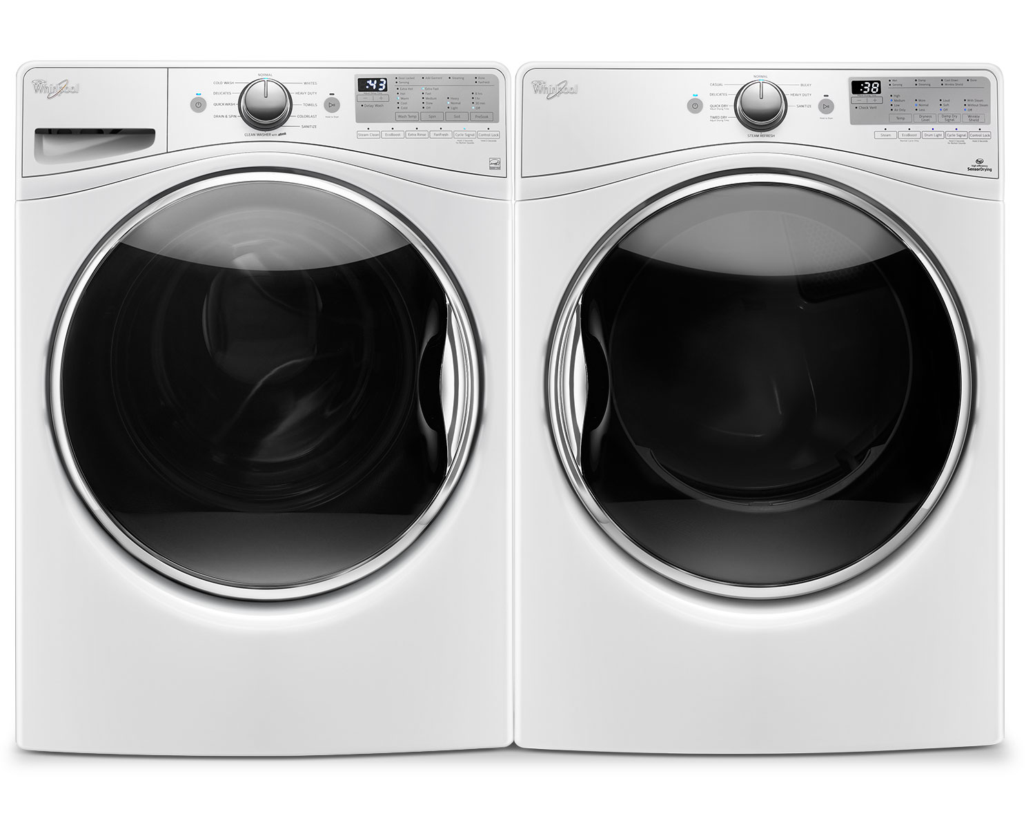 [Whirlpool White Front-Load Laundry Pair]