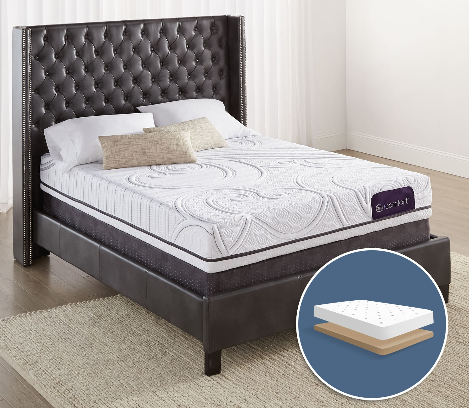 Mattresses and Bedding - Serta iComfort Aura 2 Firm King Low-Profile Mattress Set