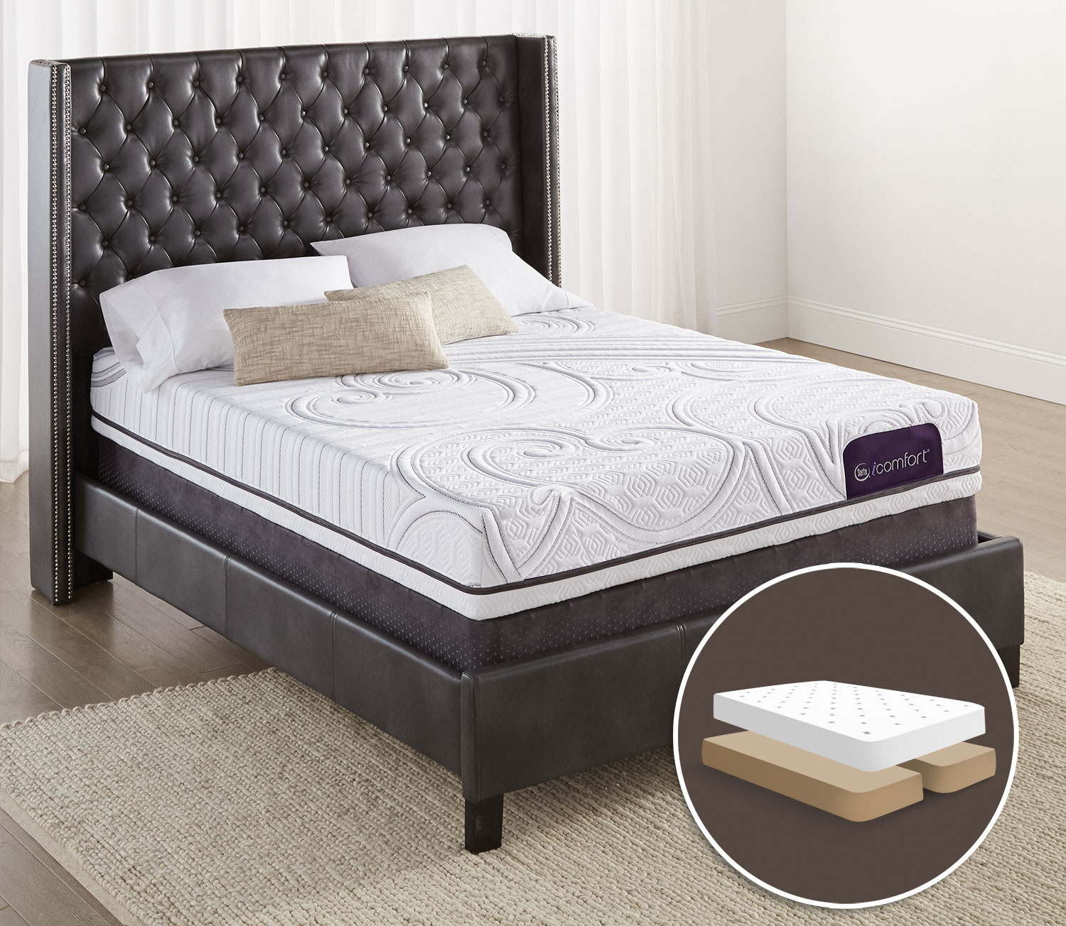 Serta iComfort Aura 2 Firm Queen Mattress with Split Boxspring Set