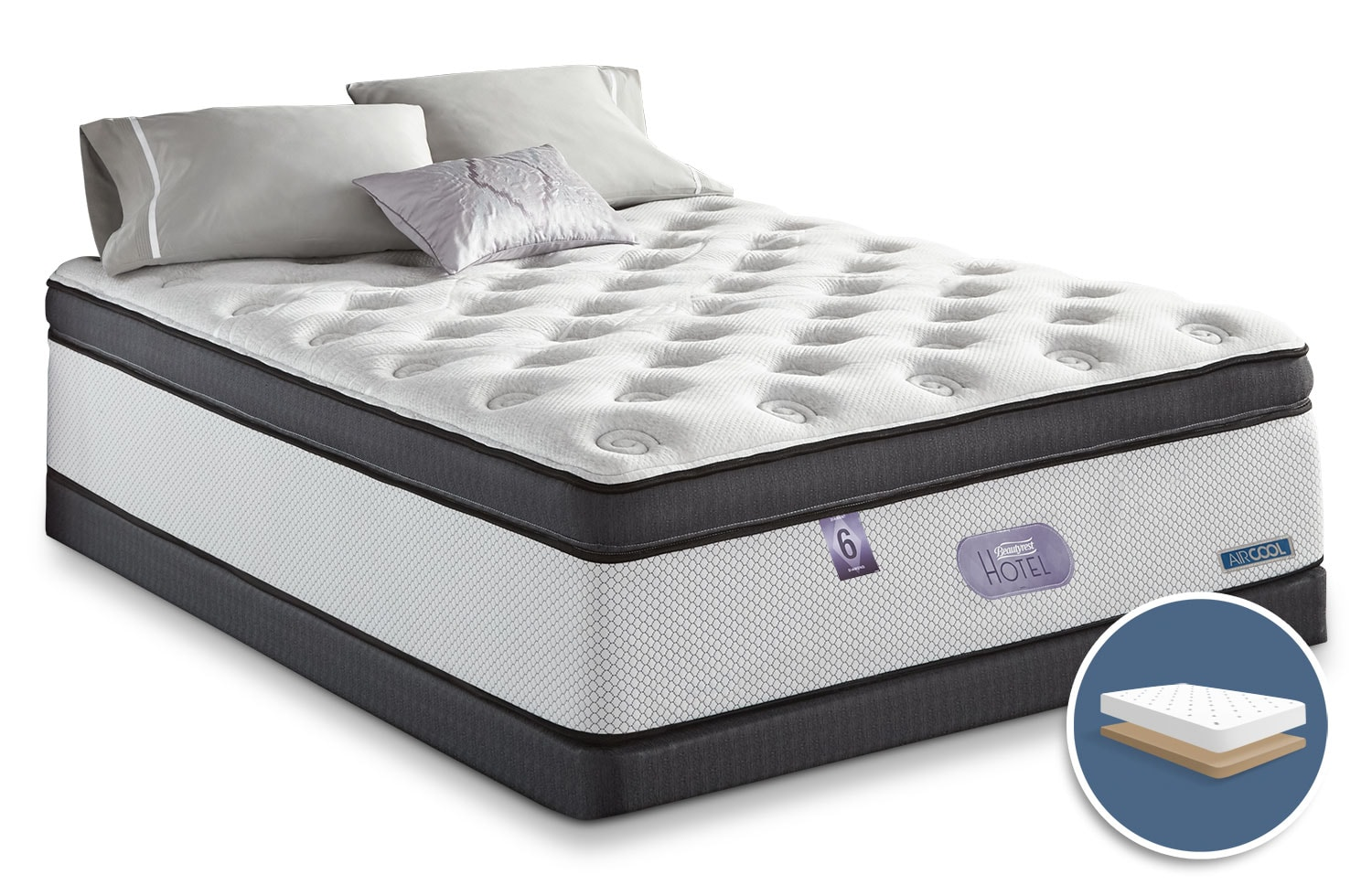 Mattresses and Bedding - Simmons Beautyrest® Hotel Diamond 6.0 Ultra Comfort Top Plush Low-Profile Full Mattress Set
