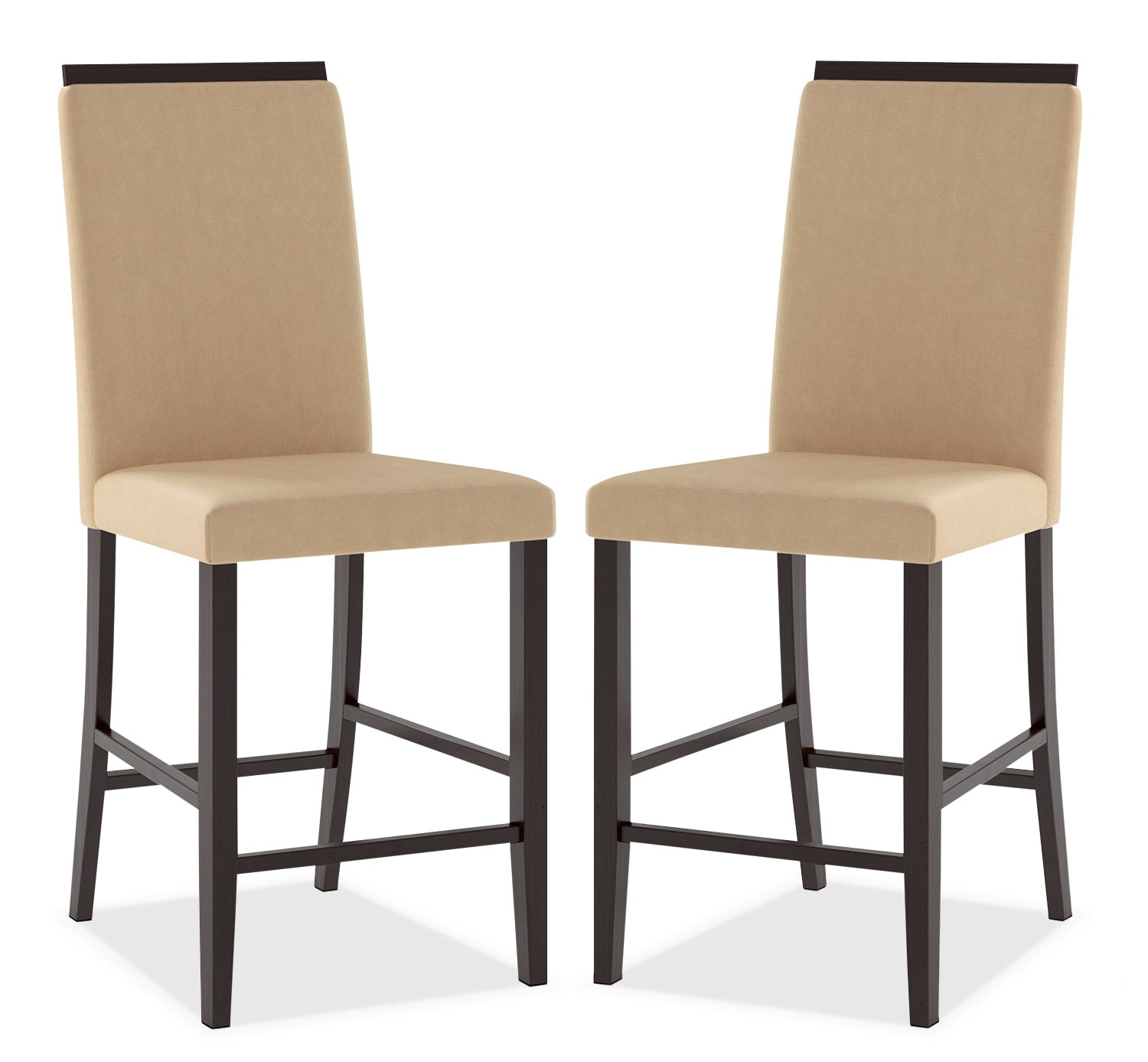 Bistro Counter-Height Dining Chair with Capped Backrest, Set of 2 – Desert Sand