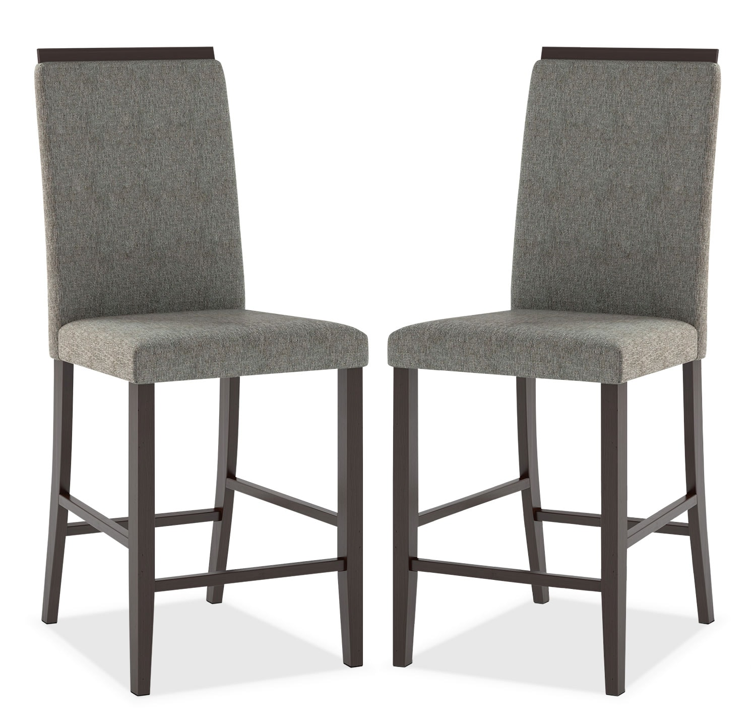Bistro Counter-Height Dining Chair with Capped Backrest, Set of 2 – Pewter Grey
