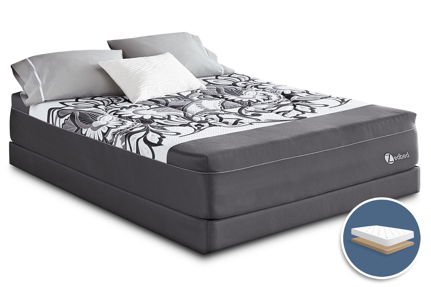 Mattresses and Bedding - Zedbed Vertuo Deluxe Tight-Top Low-Profile King Mattress Set