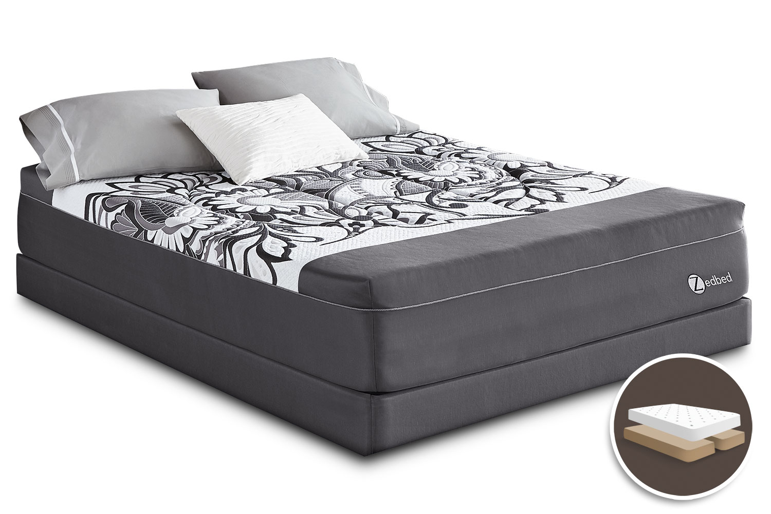 Mattresses and Bedding - Zedbed Vertuo Deluxe Tight-Top Queen Set with Split Boxspring