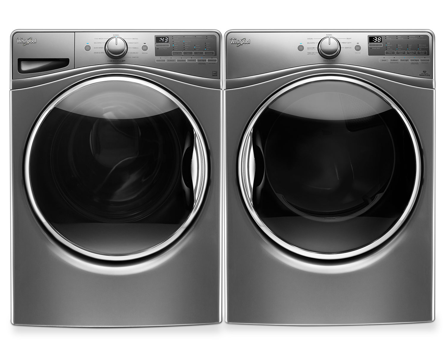 [Whirlpool Chrome Shadow Front-Load Laundry Pair]