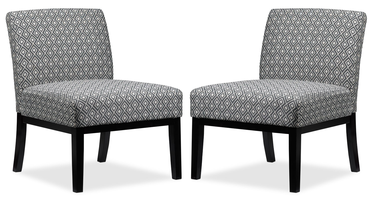 Living Room Furniture - Upton 2-Piece Accent Chair Set - Grey