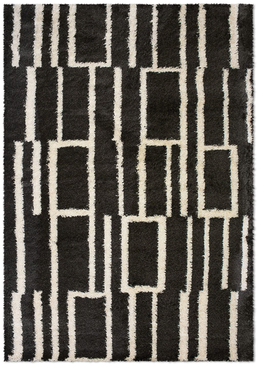 Shaggy Black Geometric Area Rug – 5' x 8'