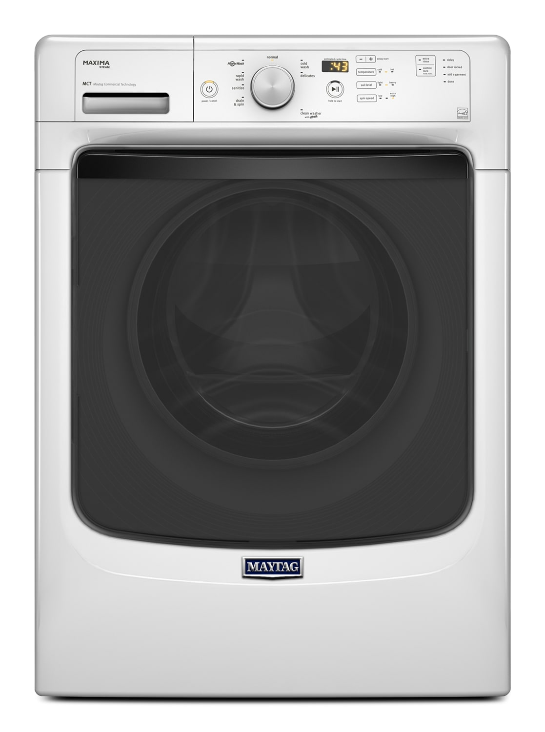 Washers and Dryers - Maytag Maxima® White Front Load Washer w/ Fresh Hold® Option (4.8 Cu. Ft. IEC) - MHW5400DW