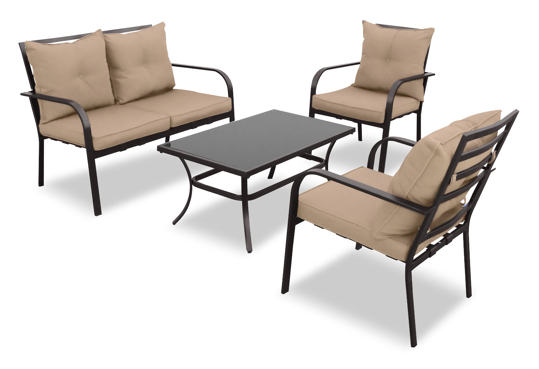 Outdoor Furniture - CorLiving 4-Piece Conversation Set – Speckled Brown