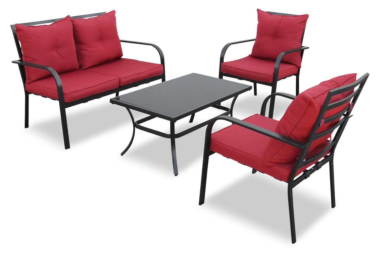 Corliving 4 piece conversation set red united for Outdoor furniture 4 piece