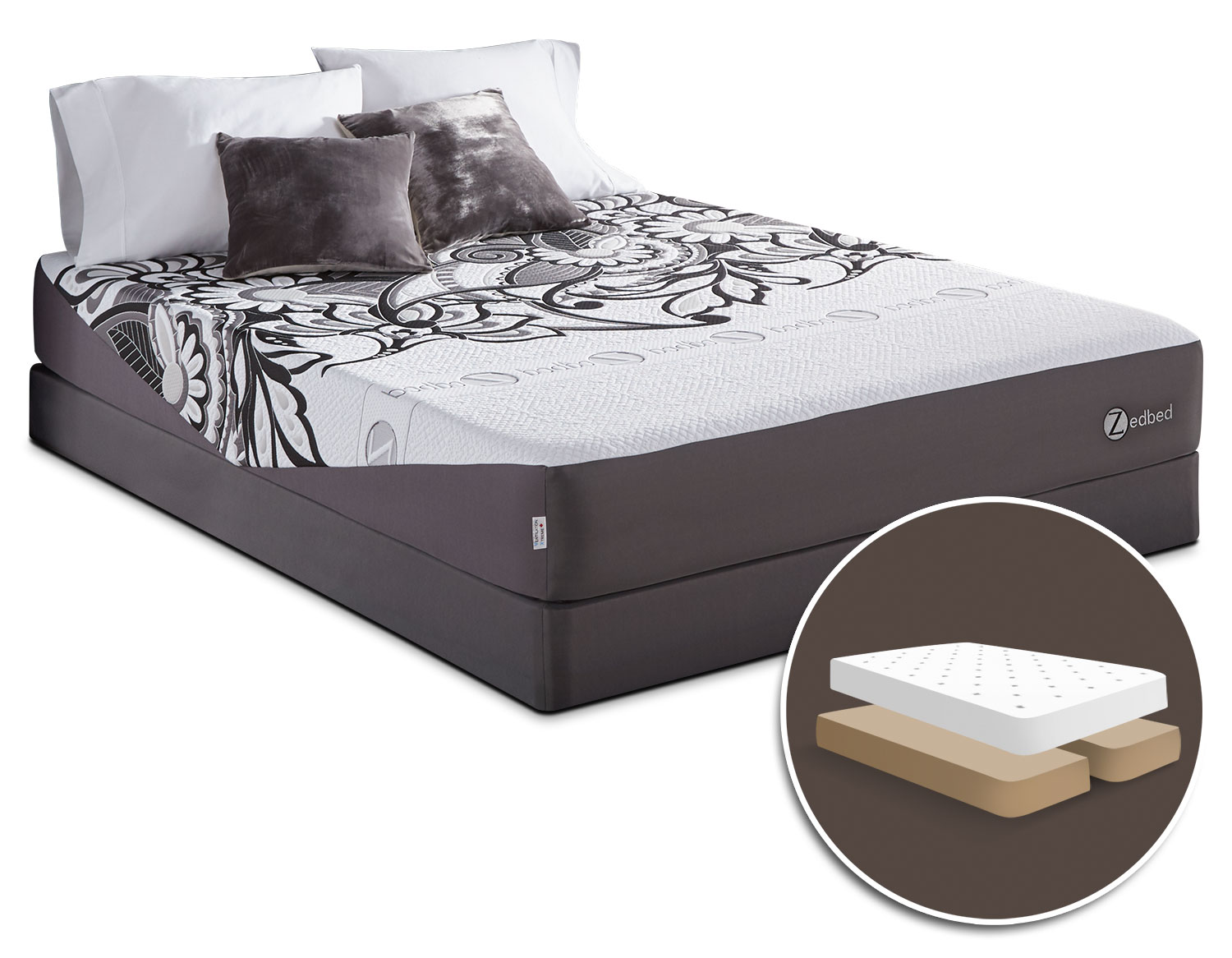Mattresses and Bedding - Zedbed Vertuo Tight-Top Queen Set with Split Boxspring