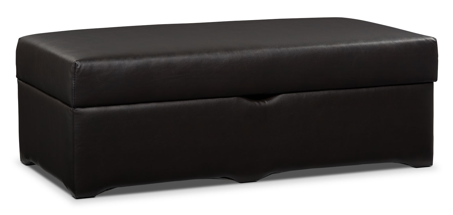 Living Room Furniture - Morty Bonded Leather Storage Ottoman - Brown