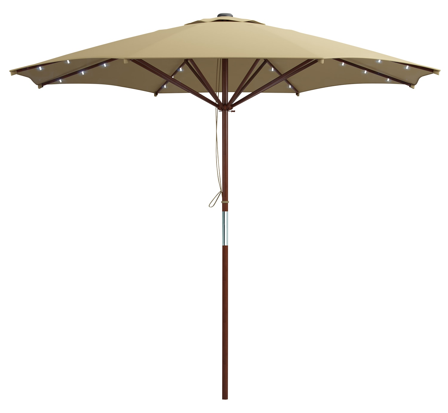 Wood-Frame Patio Umbrella with LED Lighting – Taupe
