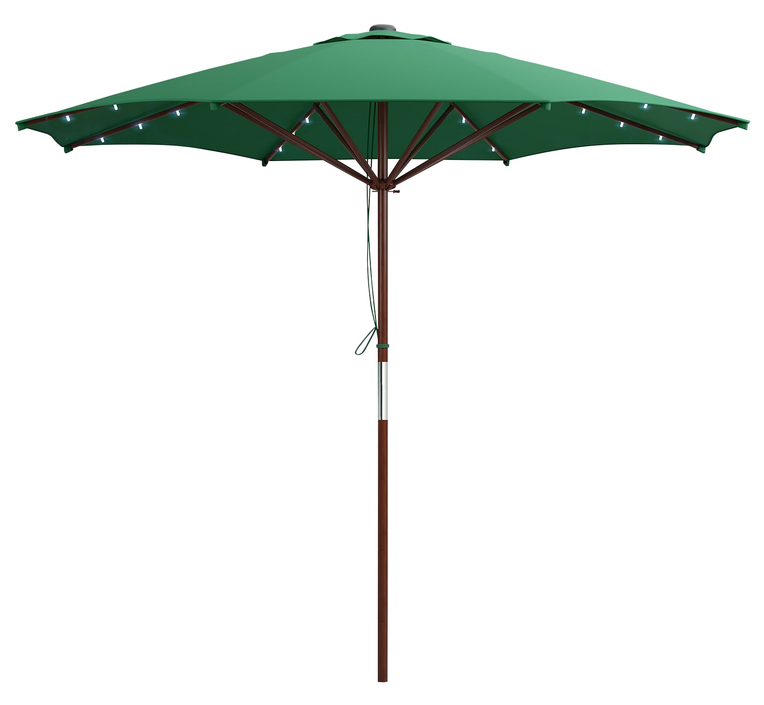 Wood-Frame Patio Umbrella with LED Lighting – Green