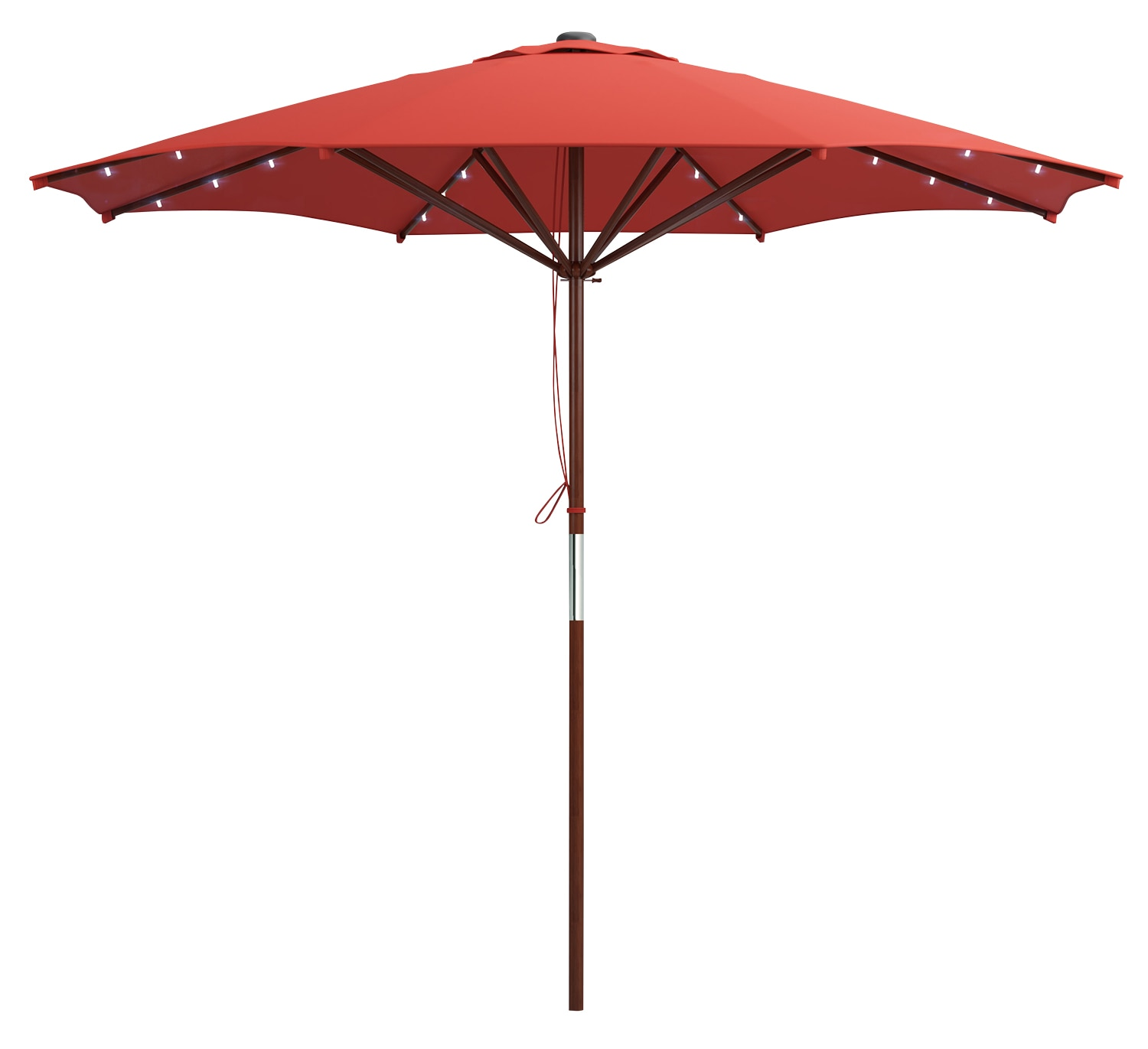 Wood-Frame Patio Umbrella with LED Lighting – Red
