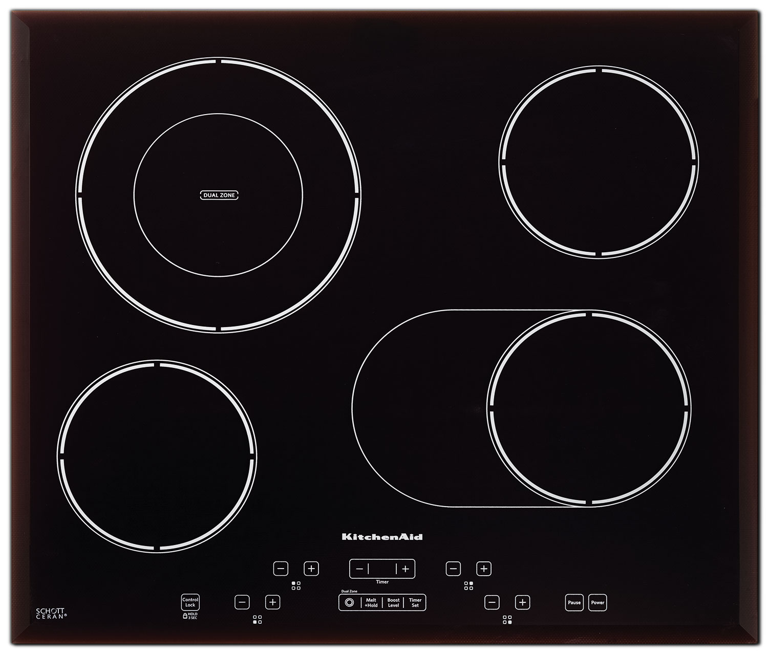 "KitchenAid Black Stainless Steel 24"" Electric Cooktop - KECC548BSS"