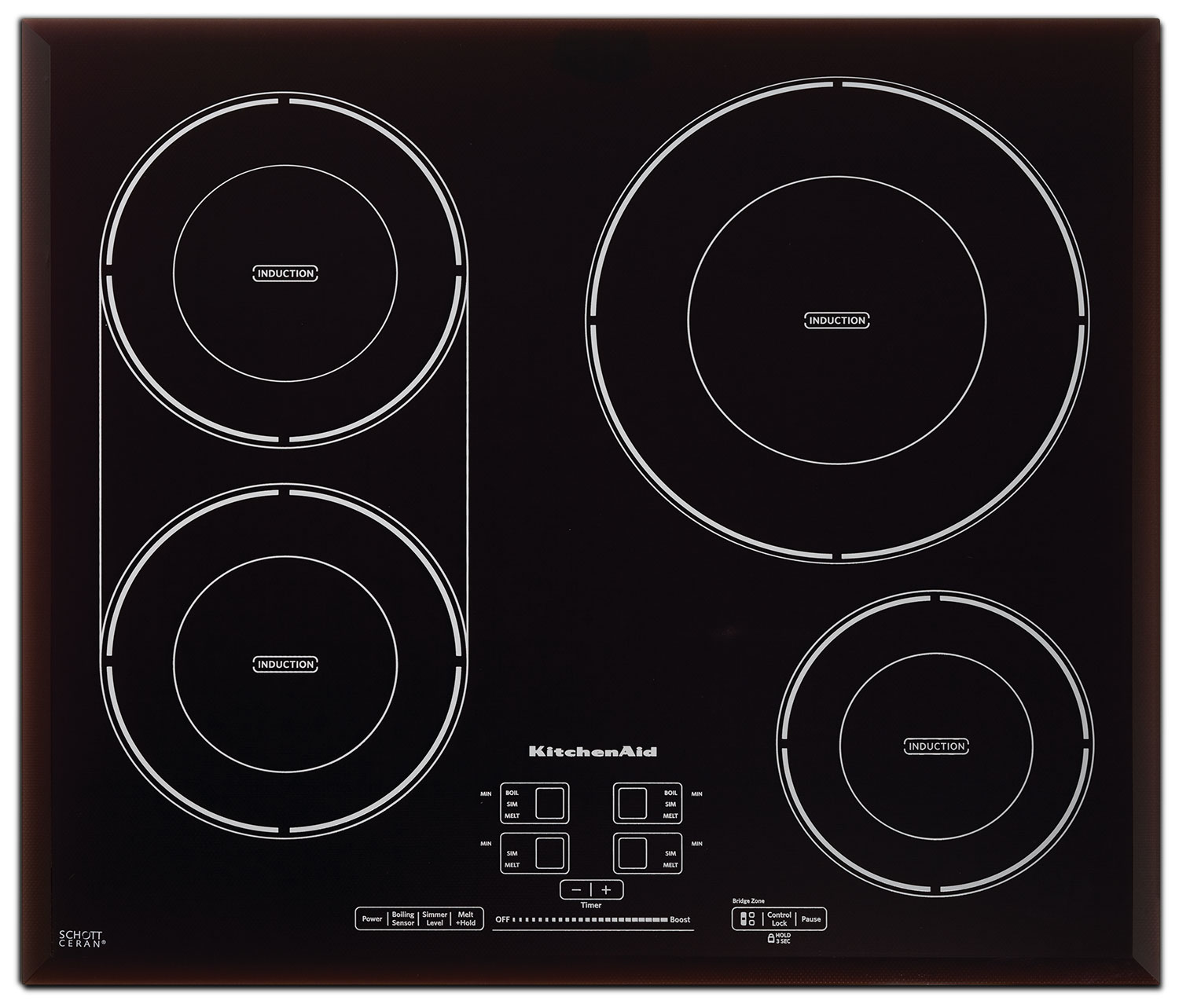 "KitchenAid Black Stainless Steel 24"" Electric Cooktop - KICU540BSS"