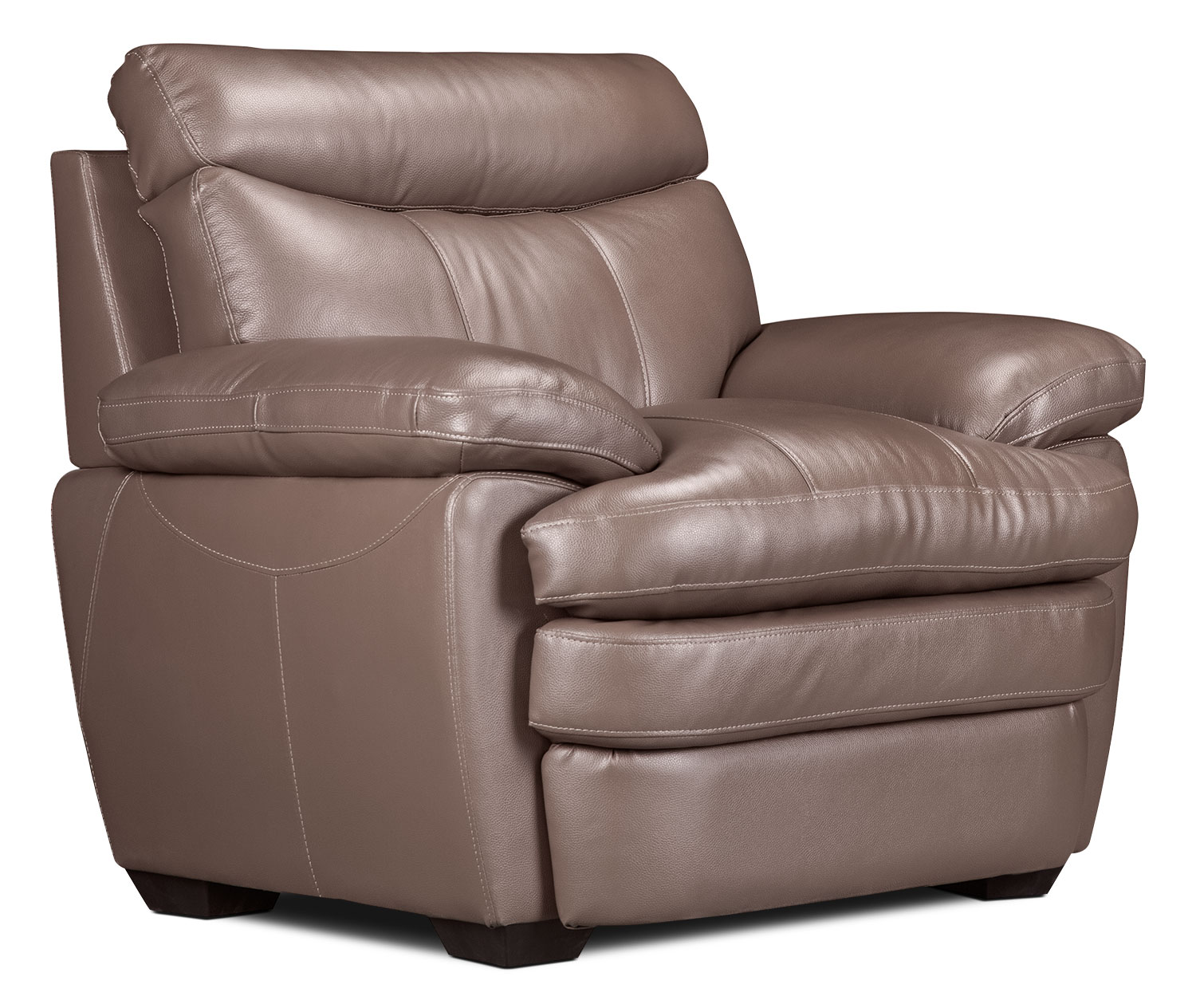 Living Room Furniture - Marty Genuine Leather Chair – Dark Taupe