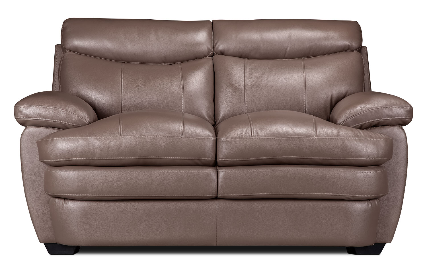 Living Room Furniture - Marty Genuine Leather Loveseat – Dark Taupe