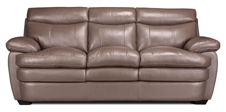 Living Room Furniture - Marty Genuine Leather Sofa – Dark Taupe